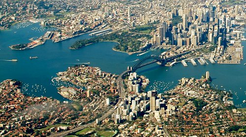 Lower North Sydney: Looking over the Harbour Bridge to the Central City